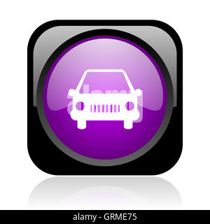 car black and violet square web glossy icon - Stock Photo