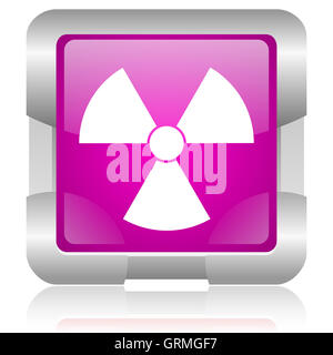 radiation pink square web glossy icon - Stock Photo
