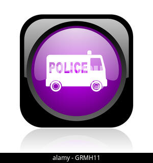 police black and violet square web glossy icon - Stock Photo