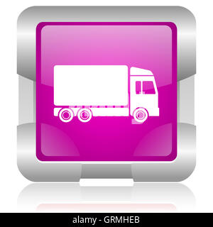 delivery pink square web glossy icon - Stock Photo