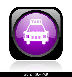 taxi black and violet square web glossy icon - Stock Photo