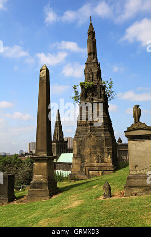 GLASGOW, SCOTLAND, UK - JULY 11, 2013 : The Glasgow Necropolis , Victorian cemetery in Glasgow,Scotland in July - Stock Photo