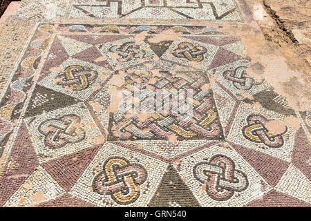 Ancient mosaics at the Archaeological Helenistic and Roman site at Kato Paphos in Cyprus. - Stock Photo