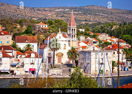 Town of Milna waterfront on Brac island, Dalmatia, Croatia - Stock Photo