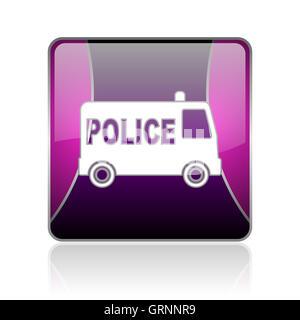 police violet square web glossy icon - Stock Photo
