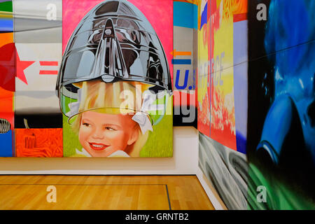 Visitors in front of 'F-111'by American artist James Rosenquist in the Museum of Modern Art (MoMA).Manhattan.New - Stock Photo