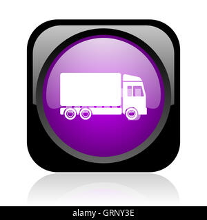 delivery black and violet square web glossy icon - Stock Photo