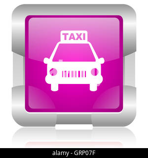 taxi pink square web glossy icon - Stock Photo