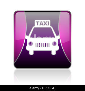 taxi violet square web glossy icon - Stock Photo