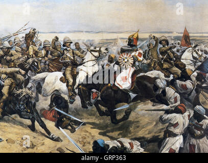 BATTLE OF OMDURMAN 2 September 1898. The charge of the 21 Lancers - in which Winston Churchill took part - painted - Stock Photo