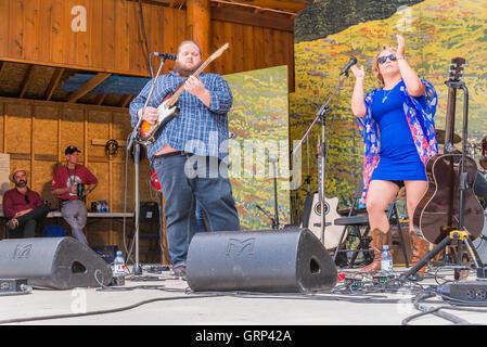 Samantha Martin and Matt Anderson  at Canmore Folk Music Festival, Canmore, Alberta, Canada - Stock Photo