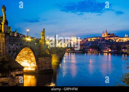 Views of the River Vltava, Charles Bridge and the Castle beyond. Prague Czech Republic Europe - Stock Photo