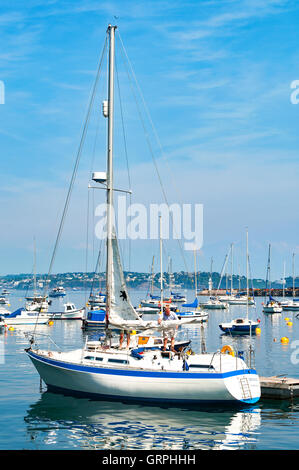 Yachts moored at Brixham in Devon, UK - Stock Photo