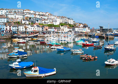 Boats in the harbour at Brixham, Devon, England, UK - Stock Photo