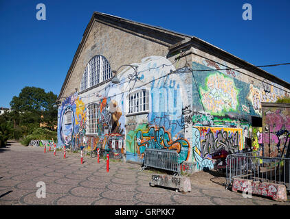 Den grå hal, the Grey Hall, in freetown Christiania, Copenhagen - Stock Photo