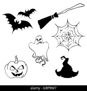 vector Halloween set, drawn Halloween symbols pumpkin, broom, bat ...