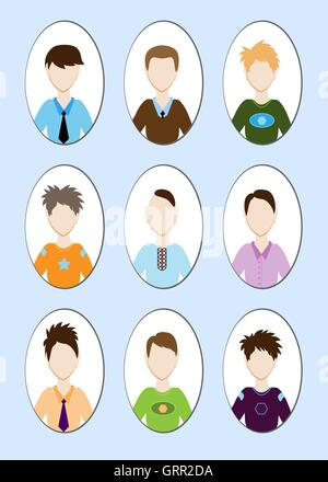 Cartoon illustration of a handsome young man with various hair style. Vector - Stock Photo