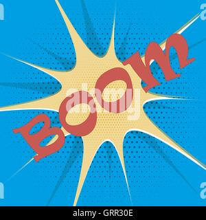 Boom explosion text description in the style of comics, pop, art, retro - Stock Photo