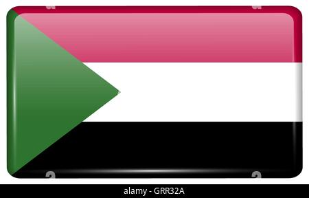 Flags Sudan in the form of a magnet on refrigerator with reflections light. Vector - Stock Photo