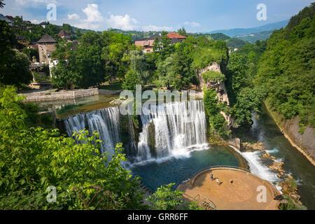 The beauty spot of the Jajce waterfall, at the confluence of the Pliva and Vrbas rivers (Bosnia - Herzegovina). - Stock Photo
