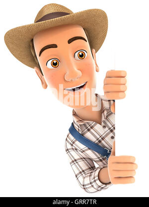 3d farmer peeping over blank wall, illustration with isolated white background - Stock Photo