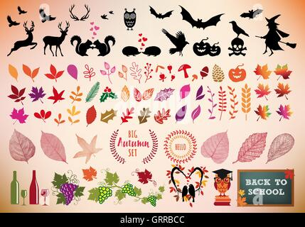 Autumn and Halloween icons, back to school, big set of vector design elements - Stock Photo