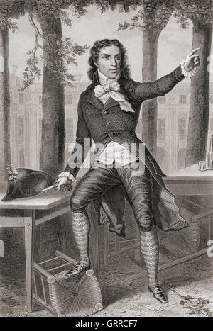 Lucie Simplice Camille Benoît Desmoulins, 1760 – 1794.  Journalist and politician during the French Revolution. - Stock Photo