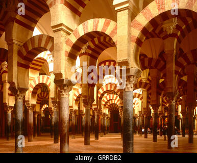 Interior of the Mezquita, Cordoba, Andalucia, Spain - Stock Photo