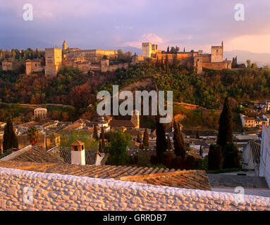 Alhambra Palace at sunset, Granada, Andalucia, Spain - Stock Photo