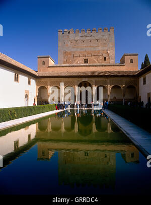 Court of the Myrtles, Alhambra Palace, Granada, Andalucia, Spain - Stock Photo