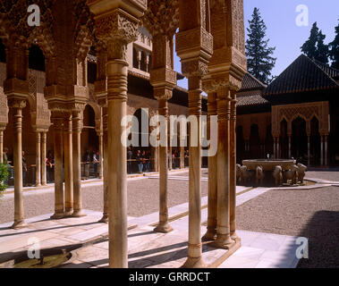 Court of the Lions, Alhambra Palace, Andalucia, Granada, Spain - Stock Photo