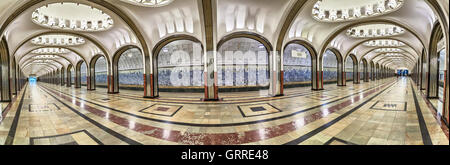 Panoramic view of Mayakovskaya metro station - one of the most beautiful stations in Moscow - Stock Photo