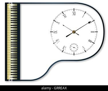 Clock face set into a traditional black grand piano - Stock Photo