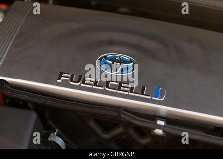 Toyota Mirai hydrogen fuel cell car engine compartment - USA - Stock Photo