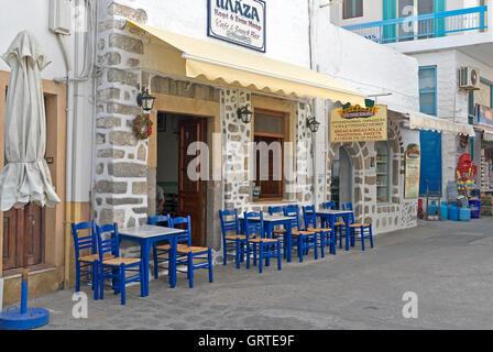 empty sidewalk cafe - Stock Photo