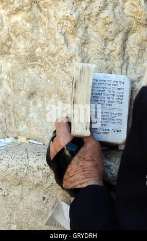 Jewish men praying by the Wailing wall in the old city of Jerusalem. - Stock Photo