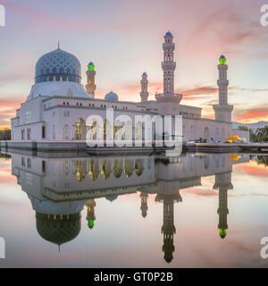 Kota Kinabalu City Mosque (The Floating Mosque) or Masjid Bandaraya Kota Kinabalu - Stock Photo