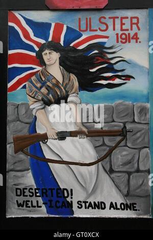 Unionist political mural, Shankill Road, Belfast, Northern Ireland, UK. - Stock Photo