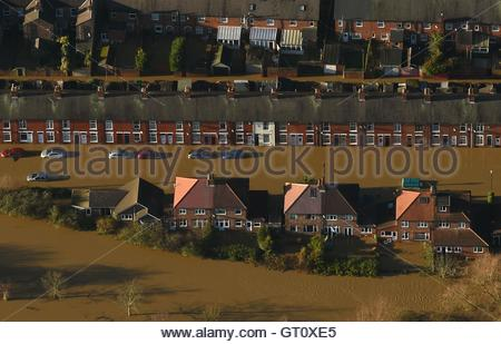 File photo dated 27/12/2015 of Huntingdon Road and Yearsley Crescent covered by floodwater after the River Ouse - Stock Photo
