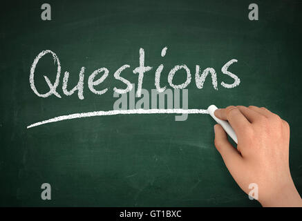 questions chalkboard write concept  3d illustration - Stock Photo