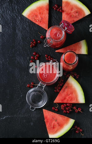Watermelon and red currant smoothie - Stock Photo