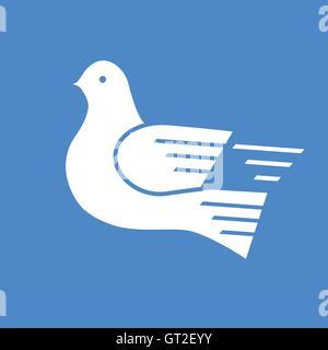 White dove urgent postal service symbol on the blue background - Stock Photo