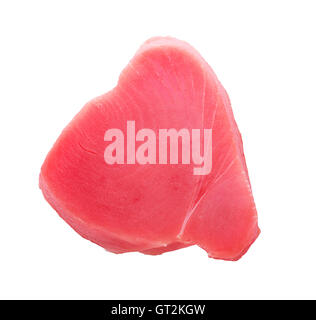 Raw yellowfin tuna steak isolated on a white background - Stock Photo