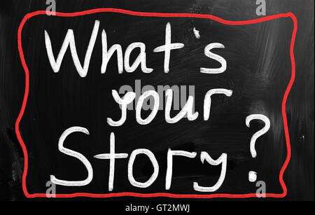 What is your story handwritten with white chalk on a blackboar - Stock Photo