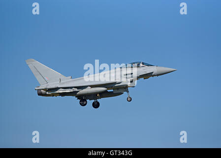 RAF Lossiemouth Military Fast Jet Eurofighter Typhoon FRG4 Registration Serial ZK344.  SCO 11,234. - Stock Photo