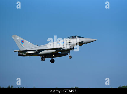 RAF Lossiemouth Military Fast Jet Eurofighter Typhoon FRG4 Registration Serial ZK342.  SCO 11,235. - Stock Photo
