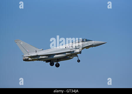 RAF Lossiemouth Military Fast Jet Eurofighter Typhoon FRG4 Registration Serial ZK300.  SCO 11,237. - Stock Photo