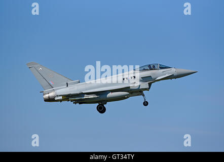 RAF Lossiemouth Military Fast Jet Eurofighter Typhoon FRG4 Registration Serial ZK323.   SCO 11,238. - Stock Photo