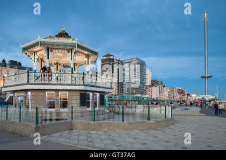 Summer evening at the Bandstand on Brighton seafront, East Sussex, England, UK. - Stock Photo