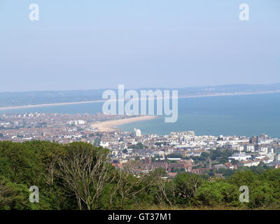 View of Eastbourne from Beachy Head Way, Eastbourne, East Sussex overlooking English Channel - Stock Photo